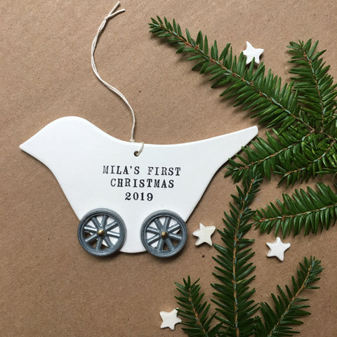 BABY'S FIRST CHRISTMAS ORNAMENT - Bird on Wheels- with your custom name and year