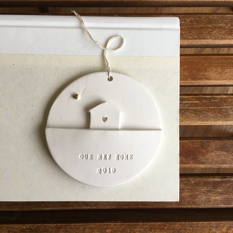 Our New Home Personalized Ceramic Ornament with Gold-Leaf Heart and your choice of text
