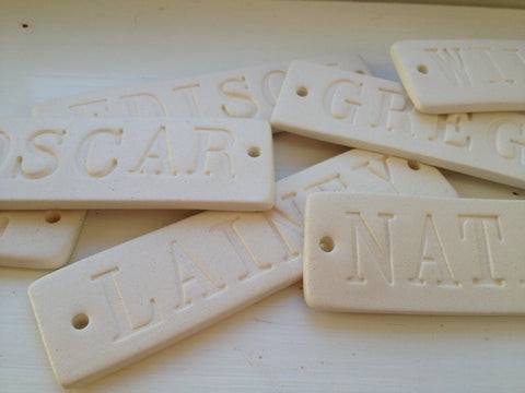 Personalized Name Tile in Ceramic  -for Stockings
