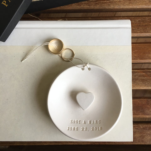 CUSTOM Scultped-Heart Ring Bearer Bowl /Ornament with Personalized Text
