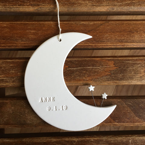 CUSTOM Moon and Stars Ornament with name