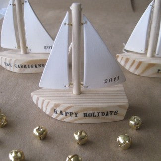 Custom Wooden Sailboat Ornament with name or message