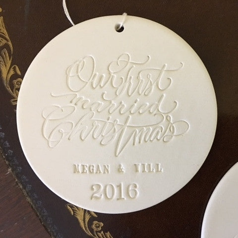 Our First Married Christmas personalized ornament in collaboration with Moya Minns
