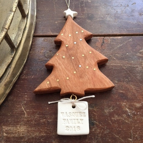 Personalized Inlaid Cherry Wood and Ceramic Christmas Tree Ornament