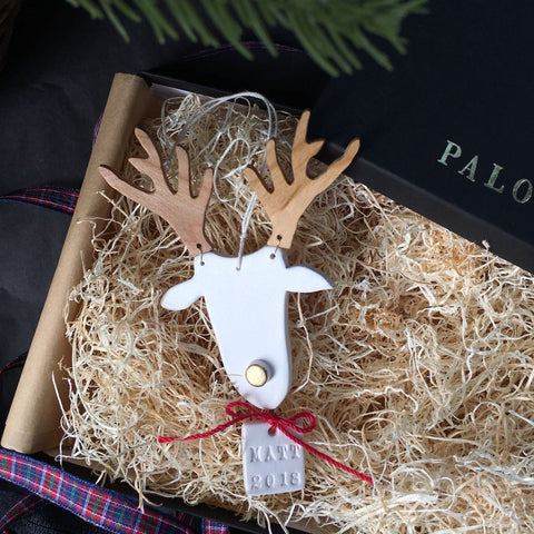 Personalized Ceramic and Cherry Wood Reindeer Ornament