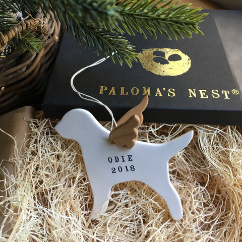 Personalized Dog with Angel Wings Ornament