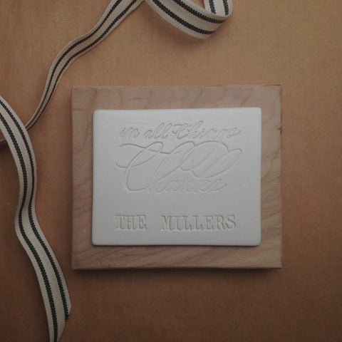 IN ALL THINGS THANKS personalized wall plaque in collaboration with Chelsea Petaja