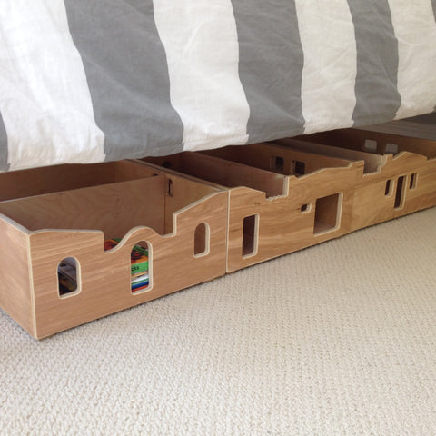 NEIGHBORHOOD HOUSE TOY BOX - stacking or under the bed storage in your choice of color