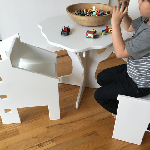 White children's table and chair set by Paloma's Nest