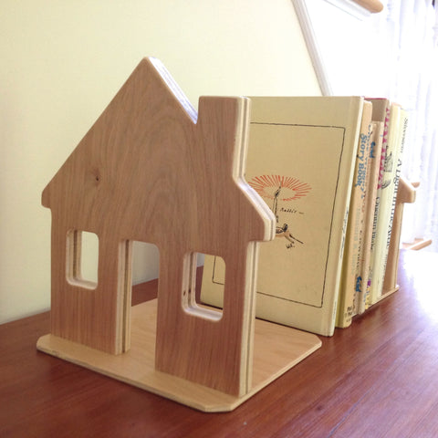 Wooden House Book Ends set of two