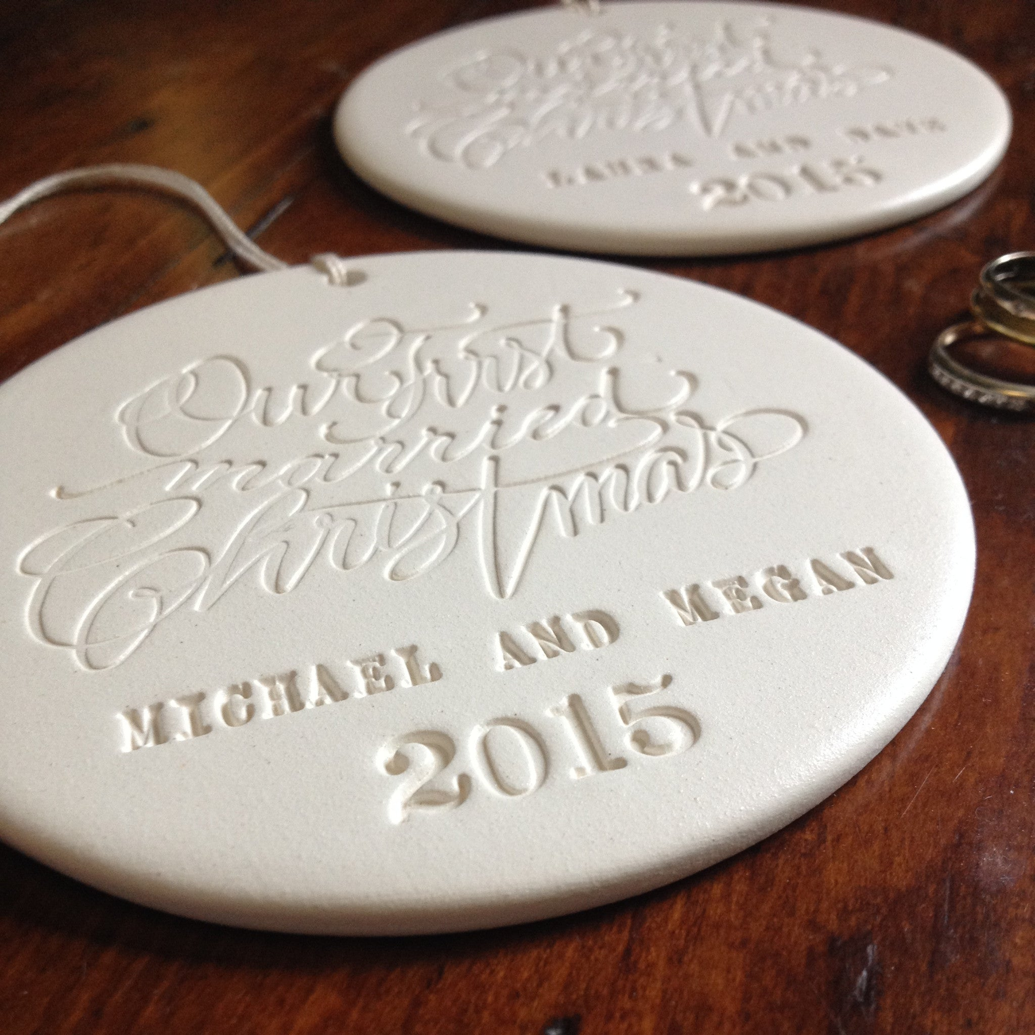 our first married christmas personalized ornament in collaboration