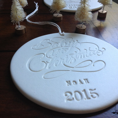 Baby's First Christmas personalized ornament in collaboration with Moya Minns