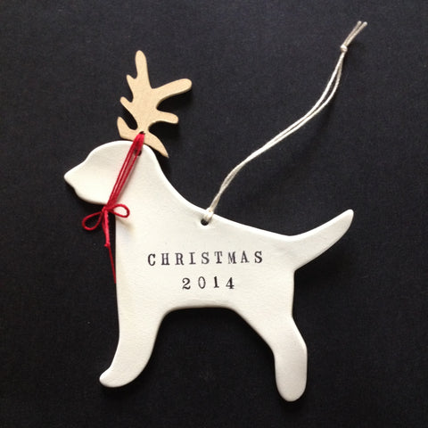 DOG IN ANTLERS ORNAMENT with your custom words and year