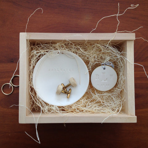 Special! Wedding Heirloom Gift Set -Ring Bowl, Cuff Links, and Bouquet Charm in Wooden Box