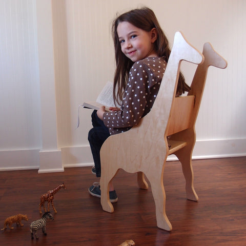 CHILD'S GIRAFFE ANIMAL CHAIR- your choice of color