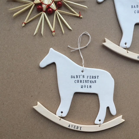 BABY'S FIRST CHRISTMAS ORNAMENT ROCKING HORSE with your custom name and year