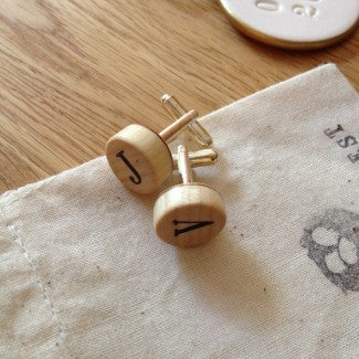 CUFF LINK SET, Wooden, Small