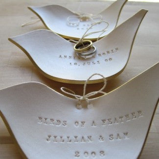 CUSTOM GILDED DOVE Ring Bearer Bowl
