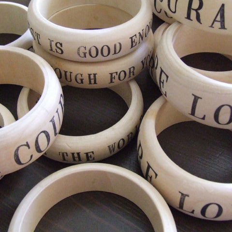 CUSTOM wooden bangle bracelet with your personalization