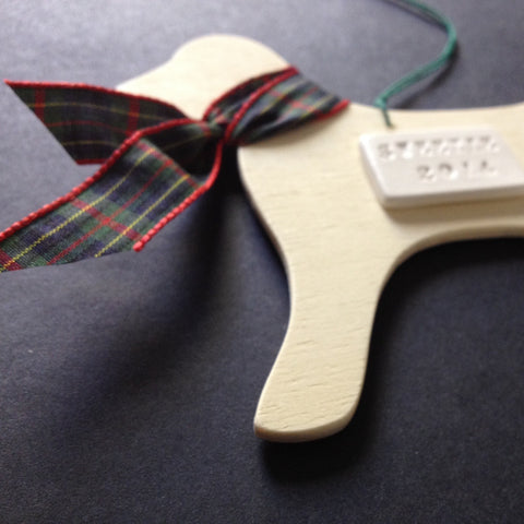 CUSTOM Dog in Plaid Scarf Ornament