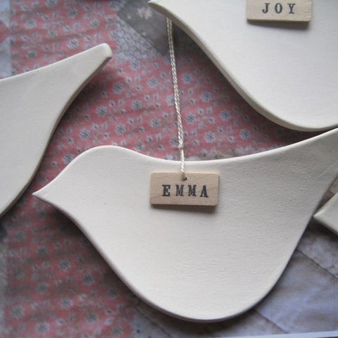 CUSTOM MESSENGER BIRD ORNAMENT with name or word on wood