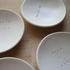 personalized ceramic ring bowl by Paloma's Nest