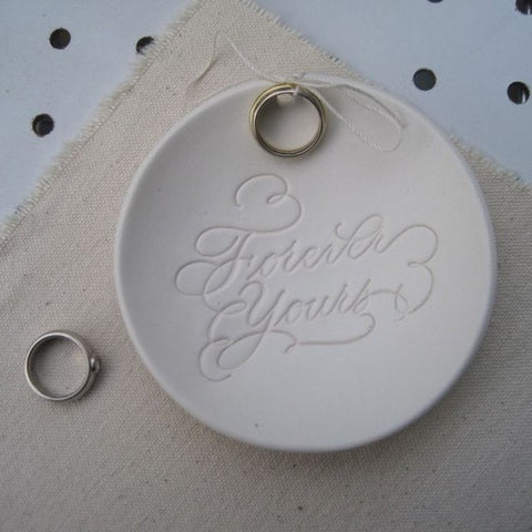 FOREVER YOURS calligraphy Ring Bearer Bowl