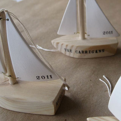 CUSTOM SAILBOAT ORNAMENT with name or message