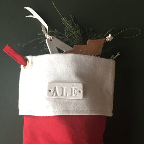 Large Personalized Christmas Stocking in Red