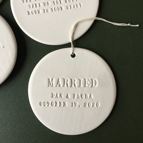 MARRIED holiday ornament with custom names and wedding date