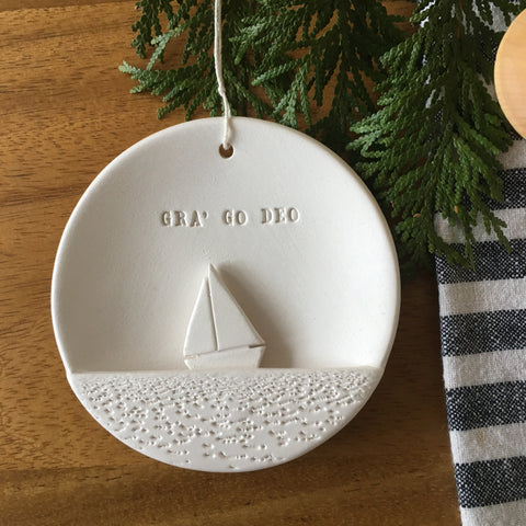 CUSTOM Ceramic Sailboat Ornament