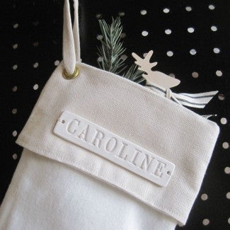 Large Personalized Christmas Stocking in Natural White
