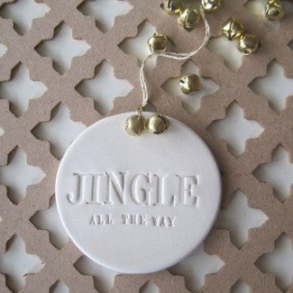 JINGLE ALL THE WAY holiday ornament with gold bells