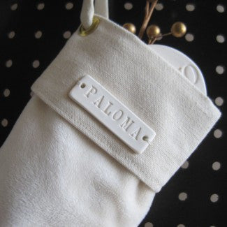 Small Personalized Christmas Stocking in White