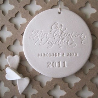 OUR FIRST CHRISTMAS TOGETHER personalized ornament