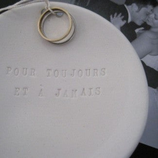 POUR TOUJOURS ET A JAMAIS Ring Bearer Bowl in French