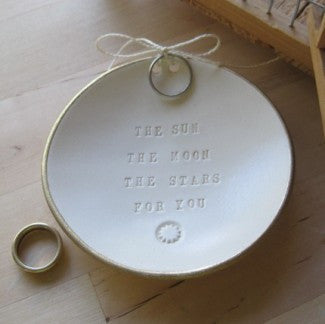 THE SUN THE MOON THE STARS FOR YOU Ring Bearer Bowl