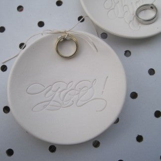 YES! calligraphy Ring Bearer Bowl