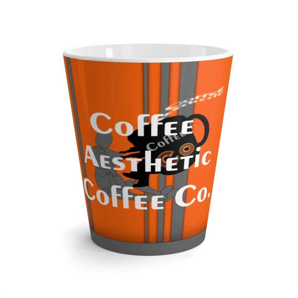 Coffee Aesthetic Coffee Co. Mug 12oz Coffee-Aesthetic.com Big Orange-Grey Latte mug