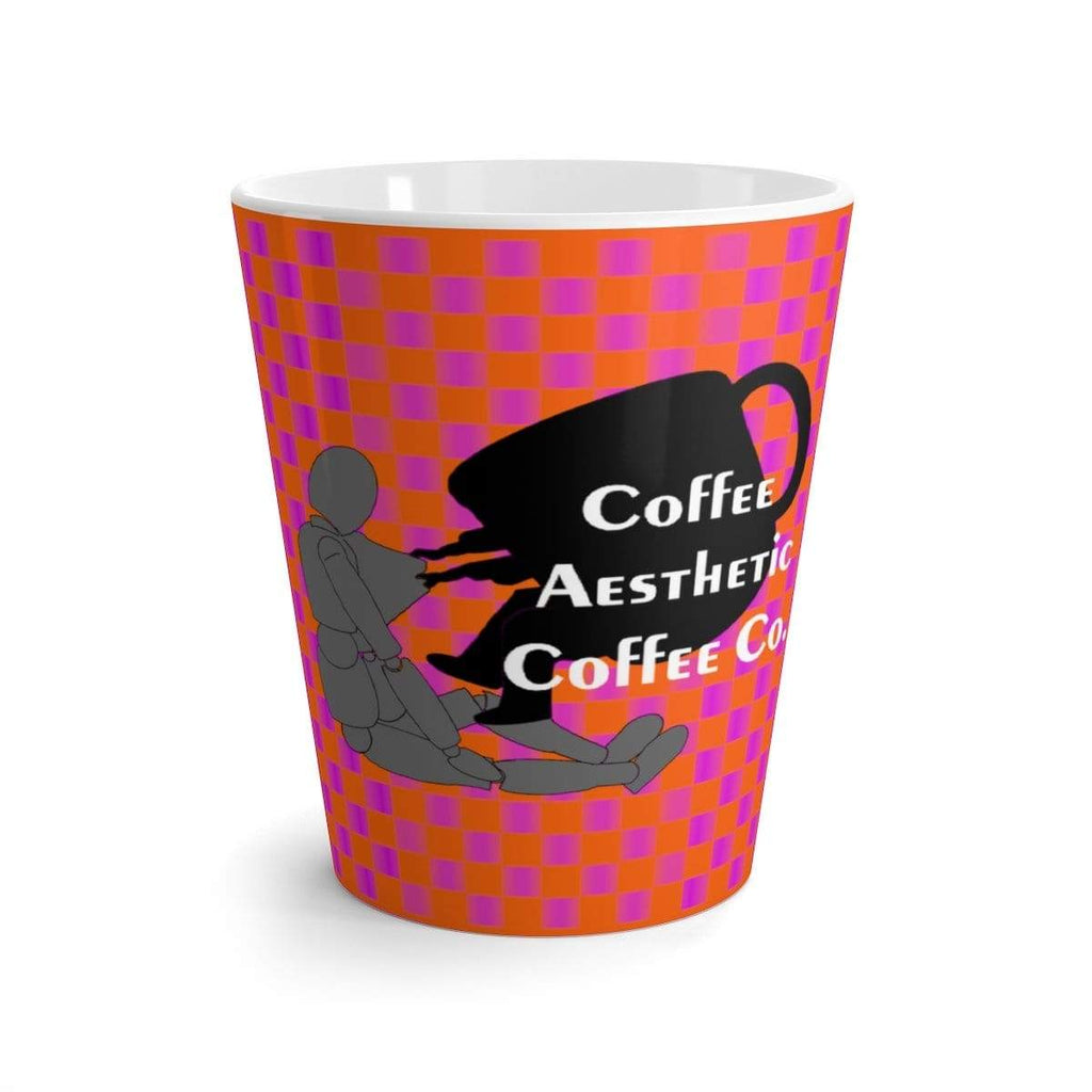 Coffee Aesthetic Coffee Co. Mug 12oz Coffee-Aesthetic.com - Big Pink Grid Latte mug