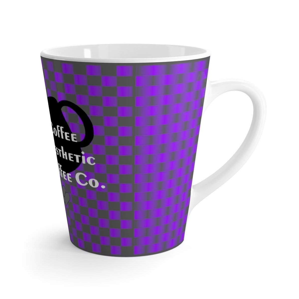 Coffee Aesthetic Coffee Co. Mug 12oz Coffee-Aesthetic.com - Big UV Grey Grid Latte mug