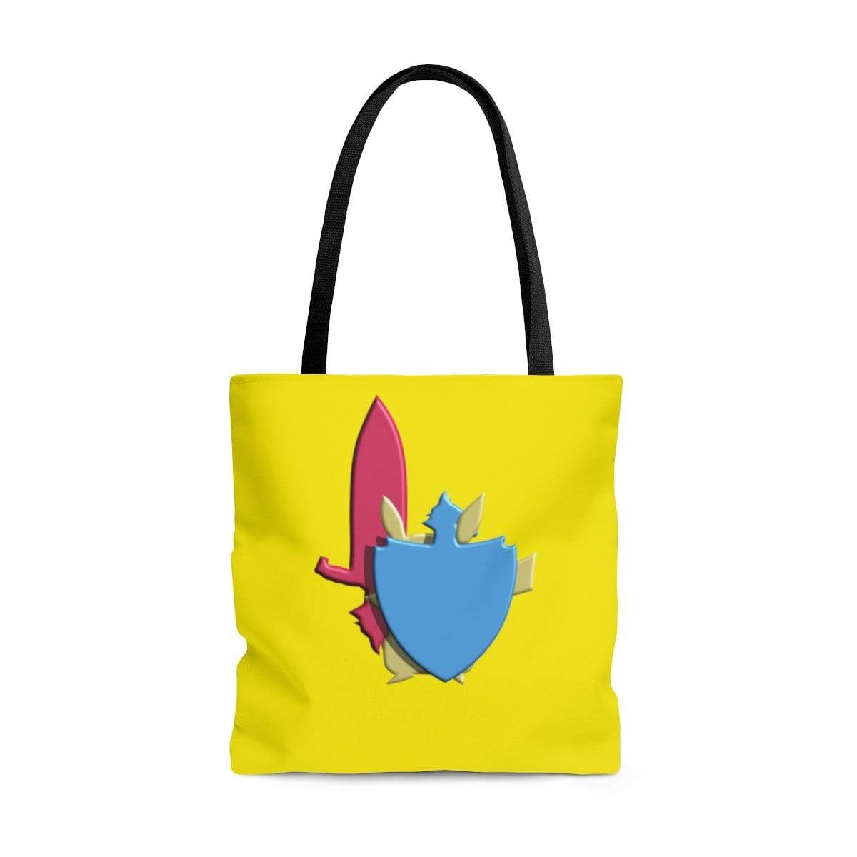 Plumskum Bags Large Gamer's Sword and Shield AOP Tote Bag
