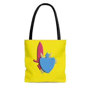 Plumskum Bags Small Gamer's Sword and Shield AOP Tote Bag