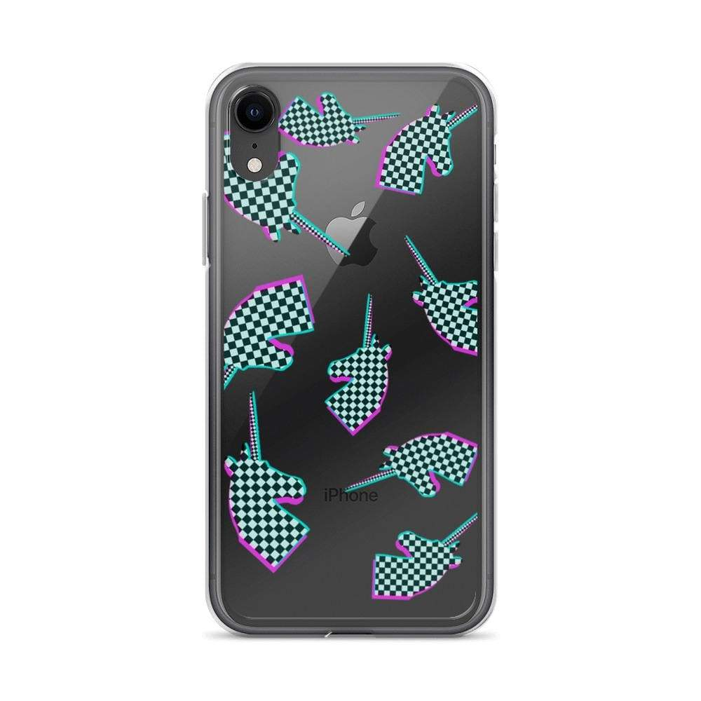 Plumskum iPhone XR Glitchy Checker Unicorn iPhone Case
