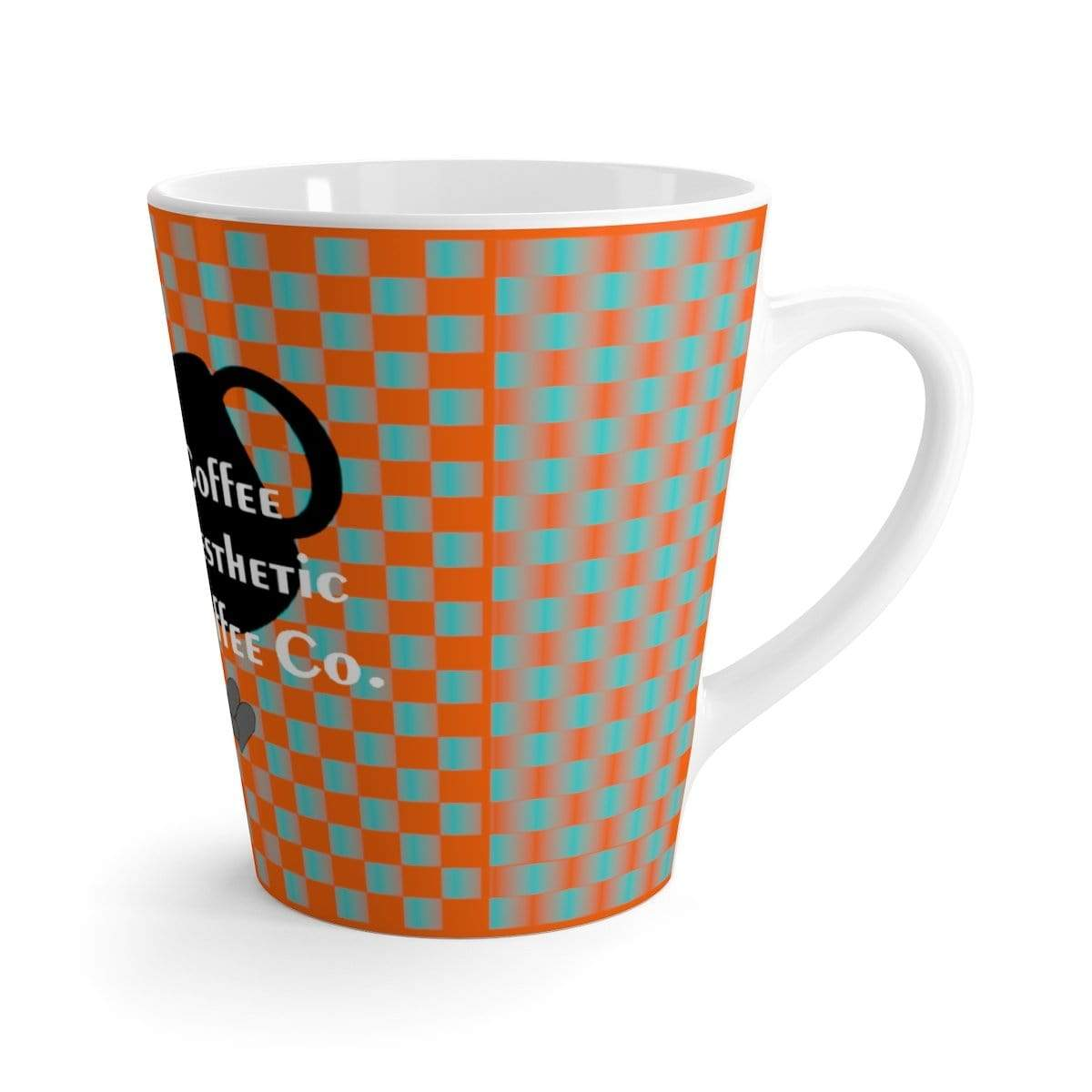 Plumskum Mug 12oz Coffee-Aesthetic.com - Big Bright Blue Grid Latte mug