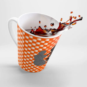 Plumskum Mug 12oz Coffee-Aesthetic.com - Big Orange/White Grid Latte mug