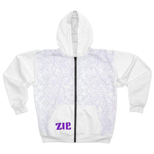 Printify All Over Prints L Plumskum Cut Sew AOP Zip Hoodie - All White