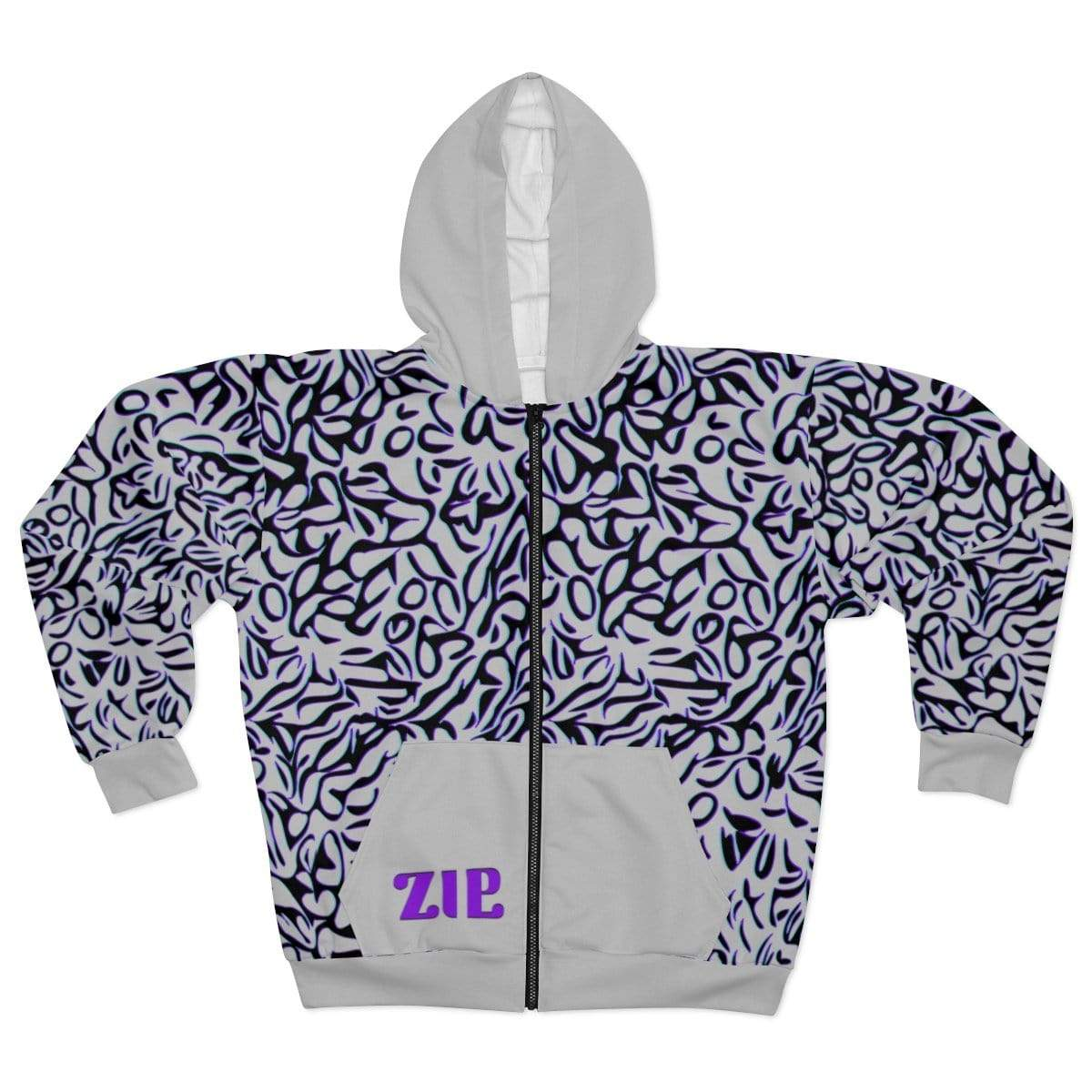 Printify All Over Prints L Plumskum Cut Sew AOP Zip Hoodie - Glitch Aesthetic 303