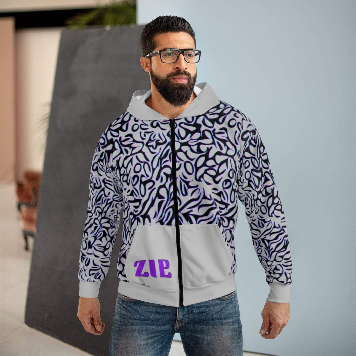 Printify All Over Prints Plumskum Cut Sew AOP Zip Hoodie - Glitch Aesthetic 303