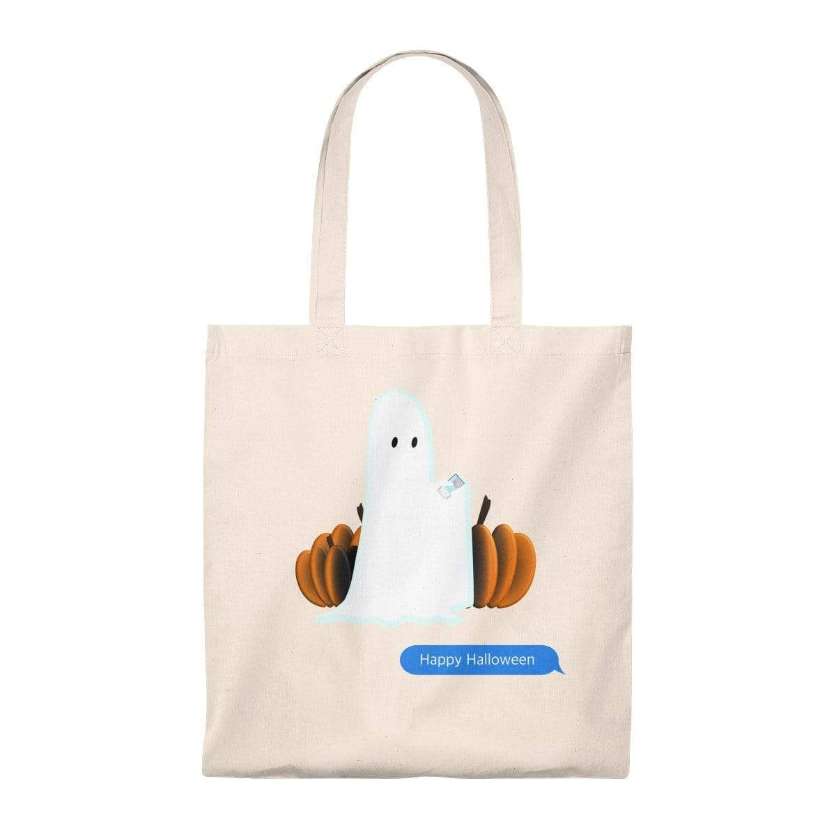 Printify Bags Natural/Natural / Small Funny Halloween Ghost on the Phone Vintage Tote Bag